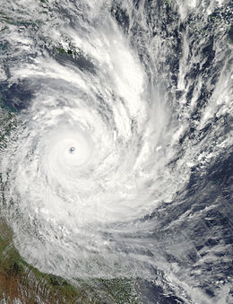 Satellite image of Cyclone Yasi on 2 February near peak intensity.  Image: wikipedia
