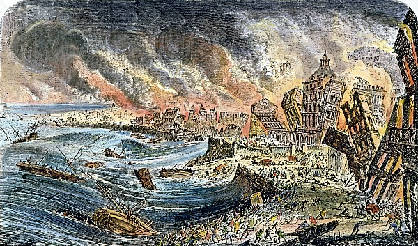 —Artist rendering made after All Saints Day 1755 Source: http://www.stephaniereneedossantos.com/tag/the-great-lisbon-earthquake-1755/
