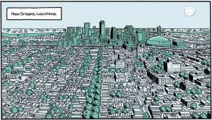 Panel from Graphic Novel by Josh Neufeld, exploring the experience after the hurricane Katrina